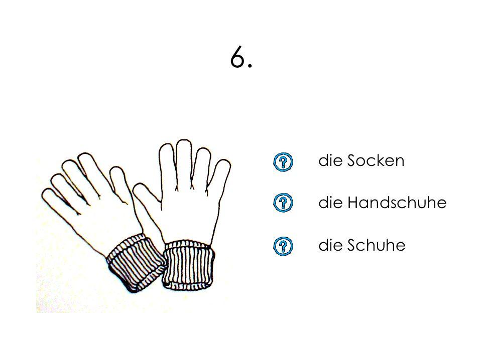 6. die Socken die Handschuhe die Schuhe