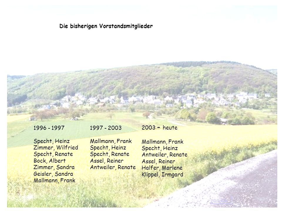 1996 - 1997 Specht, Heinz Zimmer, Wilfried Specht, Renate Bock, Albert Zimmer, Sandra Geisler, Sandra Mallmann, Frank 1997 - 2003 Mallmann, Frank Spec