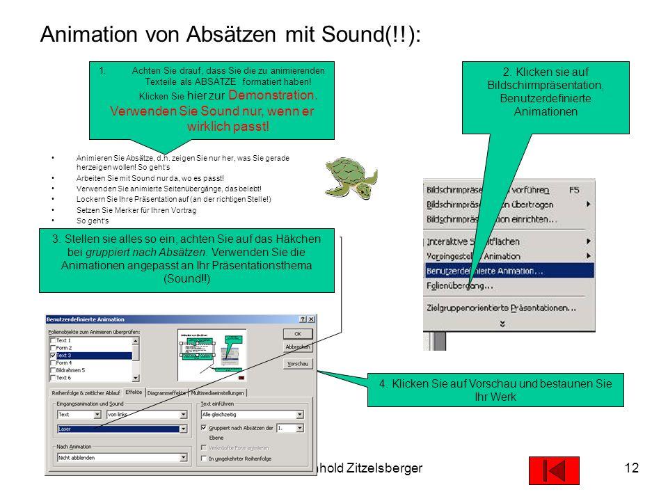 19.05.2003© 2003 Reinhold Zitzelsberger11 Lassen Sie Ihre Folien übergehen... Klicken Sie auf Bildschirmpräsentation, Folienübergang Wählen sie den Üb