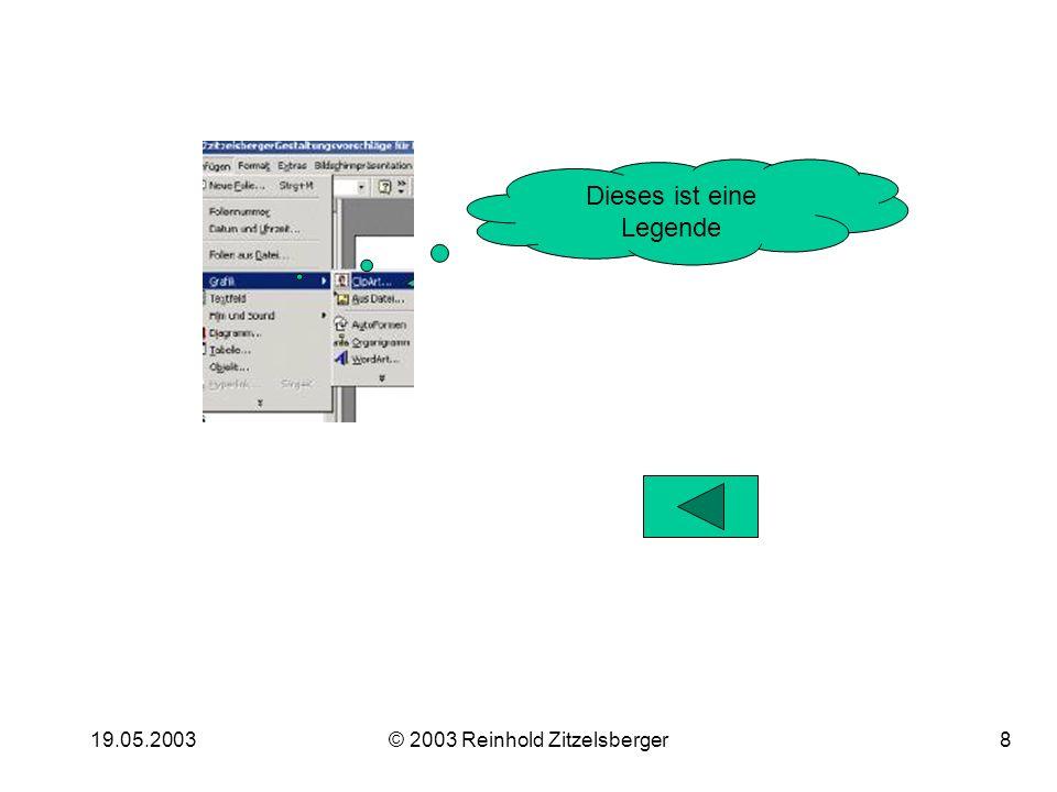 19.05.2003© 2003 Reinhold Zitzelsberger8 Dieses ist eine Legende