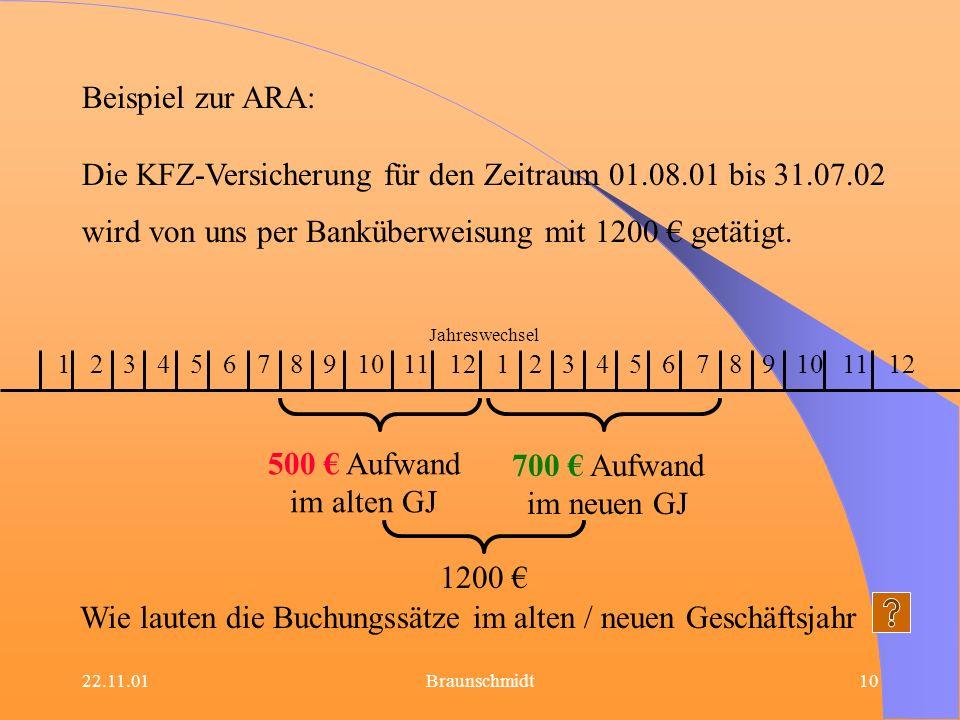 22.11.01Braunschmidt10 Beispiel zur ARA: Die KFZ-Versicherung für den Zeitraum 01.08.01 bis 31.07.02 wird von uns per Banküberweisung mit 1200 getätig