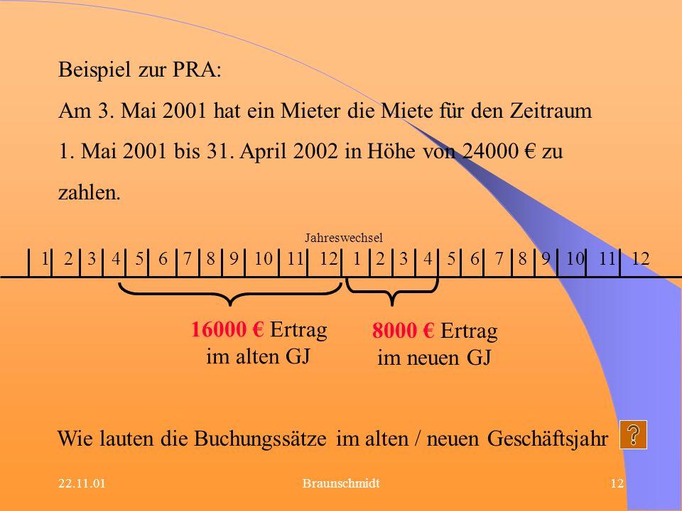 22.11.01Braunschmidt12 Beispiel zur PRA: Am 3. Mai 2001 hat ein Mieter die Miete für den Zeitraum 1. Mai 2001 bis 31. April 2002 in Höhe von 24000 zu