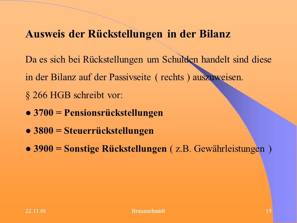22.11.01Braunschmidt15 Ausweis der Rückstellungen in der Bilanz Da es sich bei Rückstellungen um Schulden handelt sind diese in der Bilanz auf der Pas