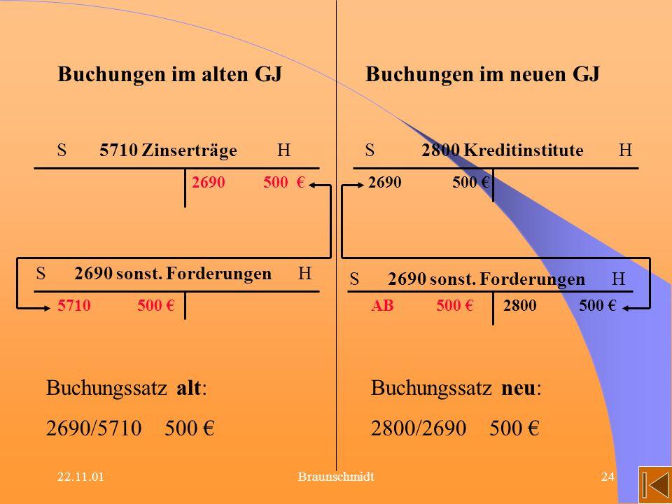 22.11.01Braunschmidt24 Buchungen im alten GJBuchungen im neuen GJ S 5710 Zinserträge HS 2800 Kreditinstitute H 2690 500 S 2690 sonst. Forderungen H 57