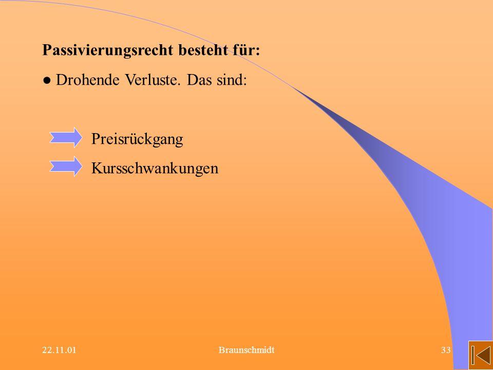 22.11.01Braunschmidt33 Passivierungsrecht besteht für: Drohende Verluste. Das sind: Preisrückgang Kursschwankungen