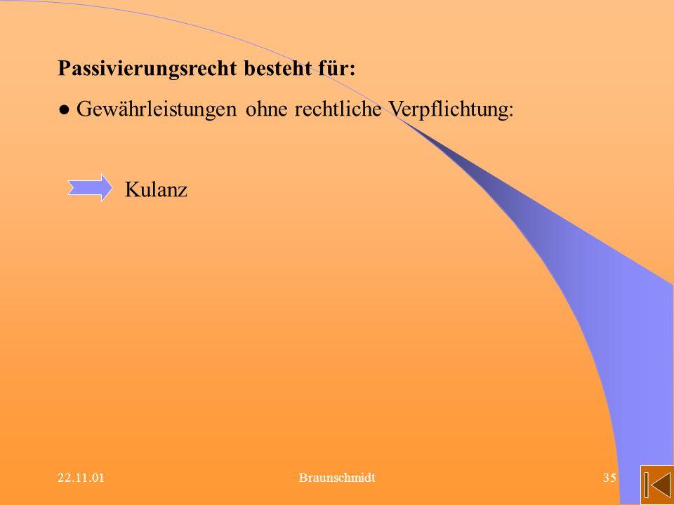 22.11.01Braunschmidt35 Passivierungsrecht besteht für: Gewährleistungen ohne rechtliche Verpflichtung: Kulanz