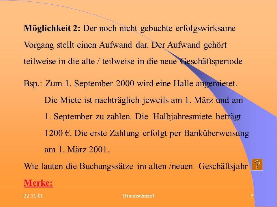 22.11.01Braunschmidt6 1.2 Sonstige Forderungen Möglichkeit 1: Der noch nicht gebuchte erfolgswirksame Vorgang stellt für die alte Geschäftsperiode einen Ertrag dar.