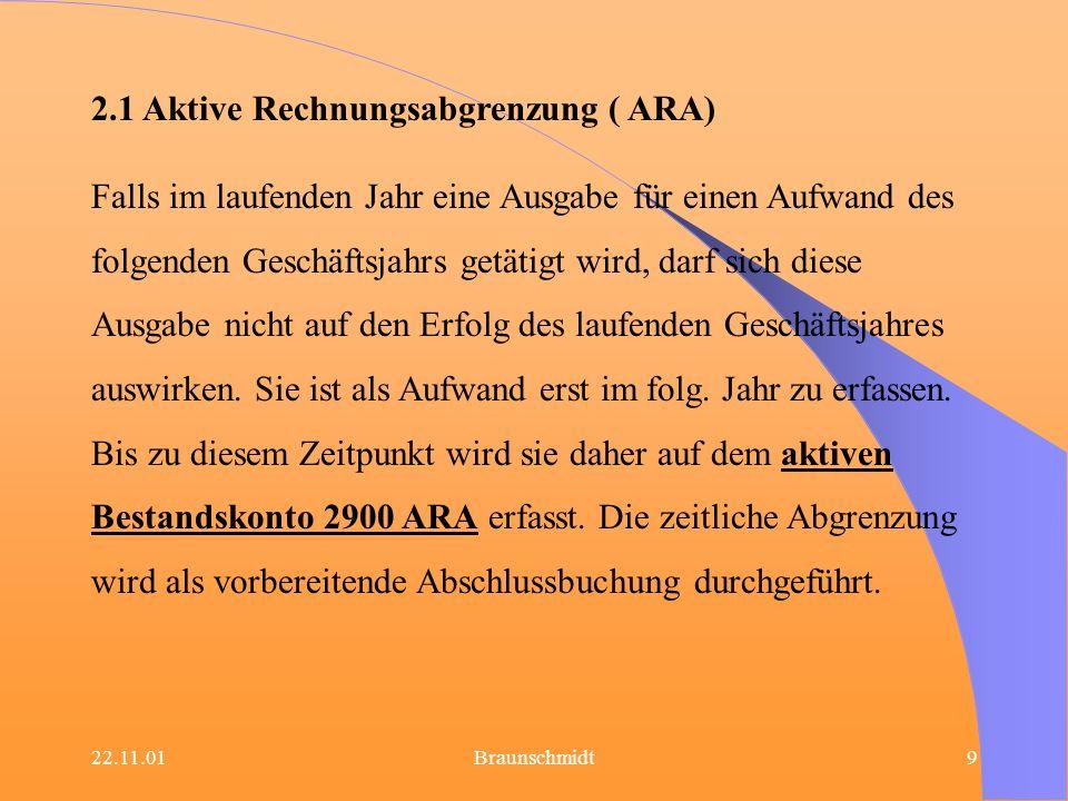 22.11.01Braunschmidt9 2.1 Aktive Rechnungsabgrenzung ( ARA) Falls im laufenden Jahr eine Ausgabe für einen Aufwand des folgenden Geschäftsjahrs getäti