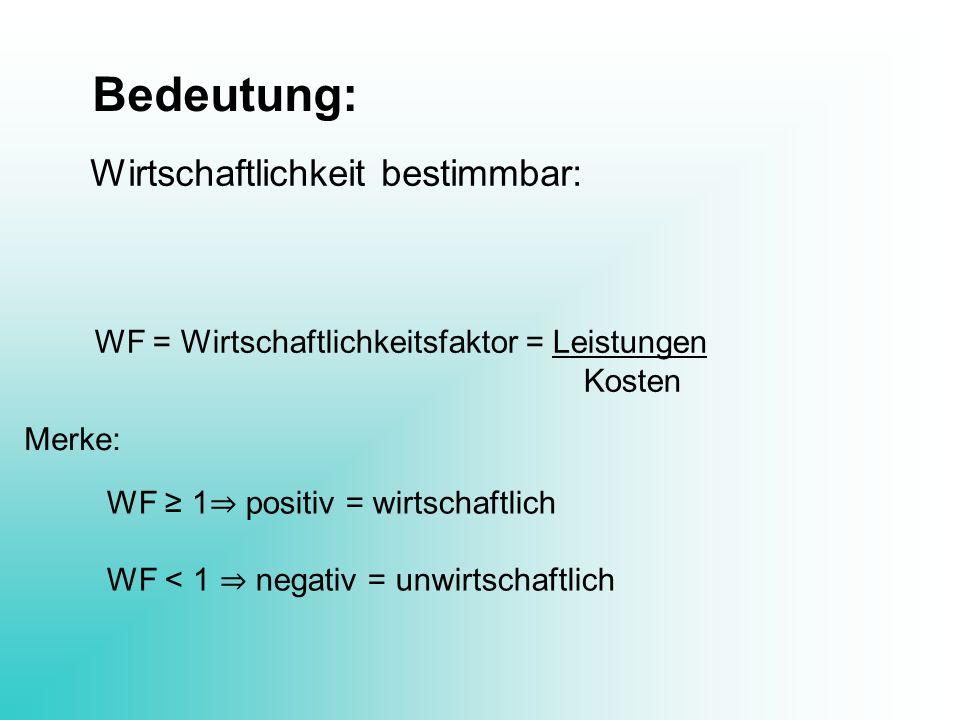 Bedeutung: Wirtschaftlichkeit bestimmbar: WF = Wirtschaftlichkeitsfaktor = Leistungen Kosten WF 1 positiv = wirtschaftlich WF < 1 negativ = unwirtscha