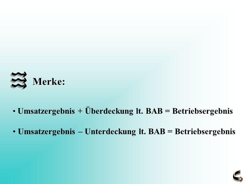Umsatzergebnis + Überdeckung lt. BAB = Betriebsergebnis Umsatzergebnis – Unterdeckung lt. BAB = Betriebsergebnis Merke: