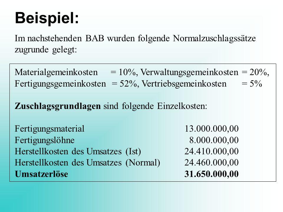 Beispiel: Im nachstehenden BAB wurden folgende Normalzuschlagssätze zugrunde gelegt: Materialgemeinkosten = 10%, Verwaltungsgemeinkosten = 20%, Fertig