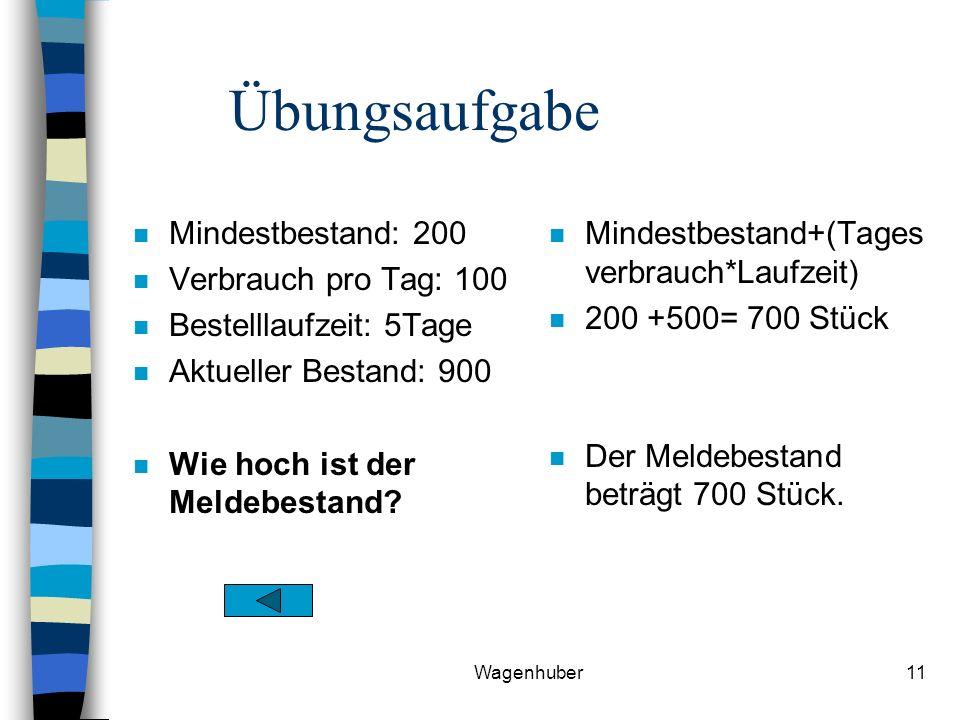 Wagenhuber11 Übungsaufgabe n Mindestbestand: 200 n Verbrauch pro Tag: 100 n Bestelllaufzeit: 5Tage n Aktueller Bestand: 900 n Wie hoch ist der Meldebestand.