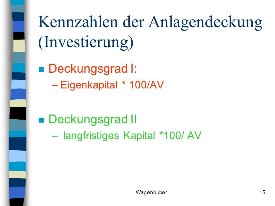 Wagenhuber15 Kennzahlen der Anlagendeckung (Investierung) n Deckungsgrad I: –Eigenkapital * 100/AV n Deckungsgrad II – langfristiges Kapital *100/ AV
