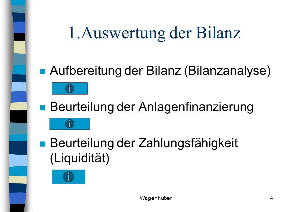 Wagenhuber4 1.Auswertung der Bilanz n Aufbereitung der Bilanz (Bilanzanalyse) n Beurteilung der Anlagenfinanzierung n Beurteilung der Zahlungsfähigkeit (Liquidität)