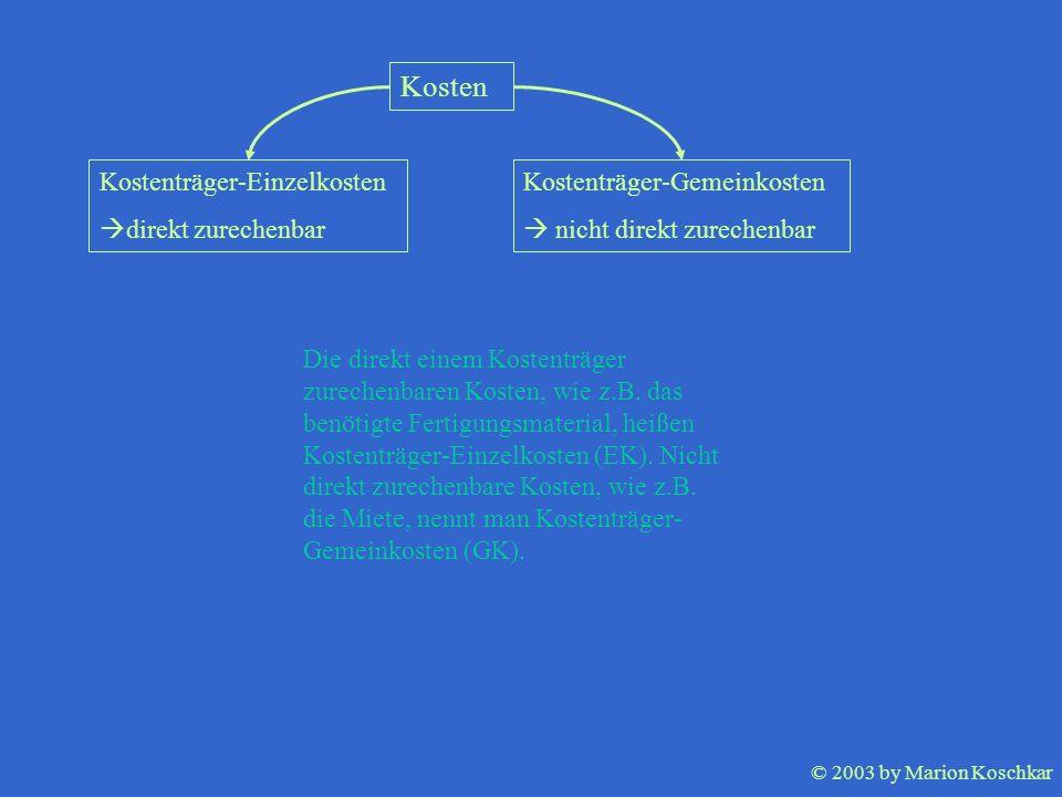 © 2003 by Marion Koschkar Kosten Kostenträger-Einzelkosten direkt zurechenbar Kostenträger-Gemeinkosten nicht direkt zurechenbar Die direkt einem Kost