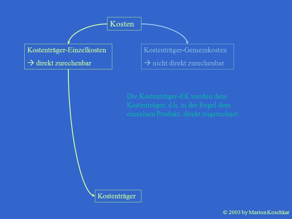 © 2003 by Marion Koschkar Kosten Kostenträger-Einzelkosten direkt zurechenbar Kostenträger-Gemeinkosten nicht direkt zurechenbar Kostenträger Die Kost