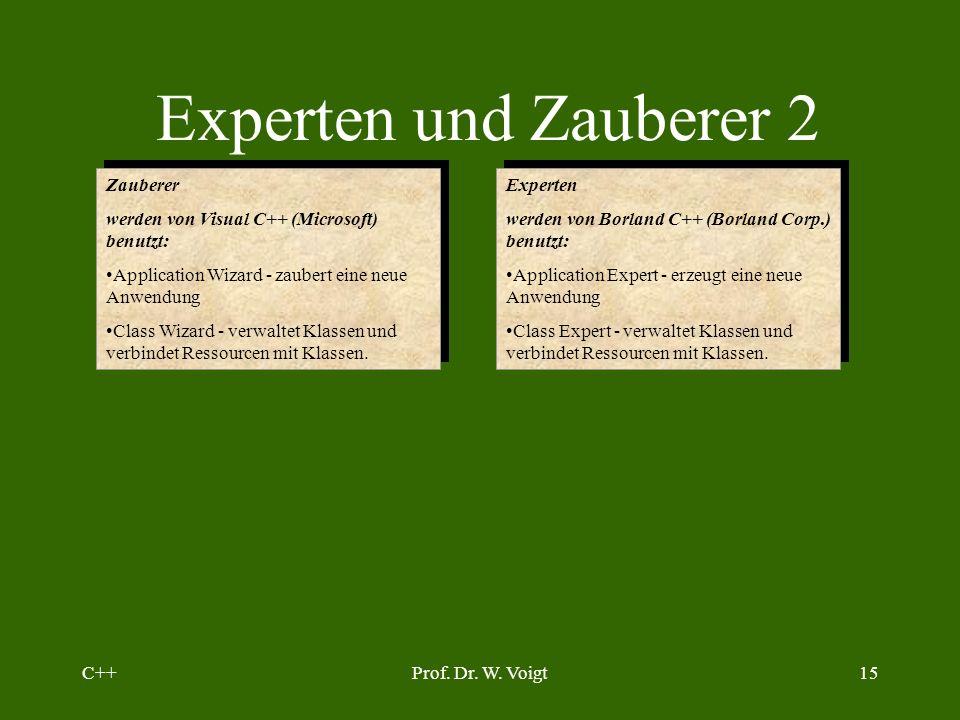 C++Prof. Dr. W. Voigt14 Basisklasse CObject der MFC Benutzung: Programmierung ohne die Vorgaben durch den Anwendungsassistenten. Mittel: Definition ei