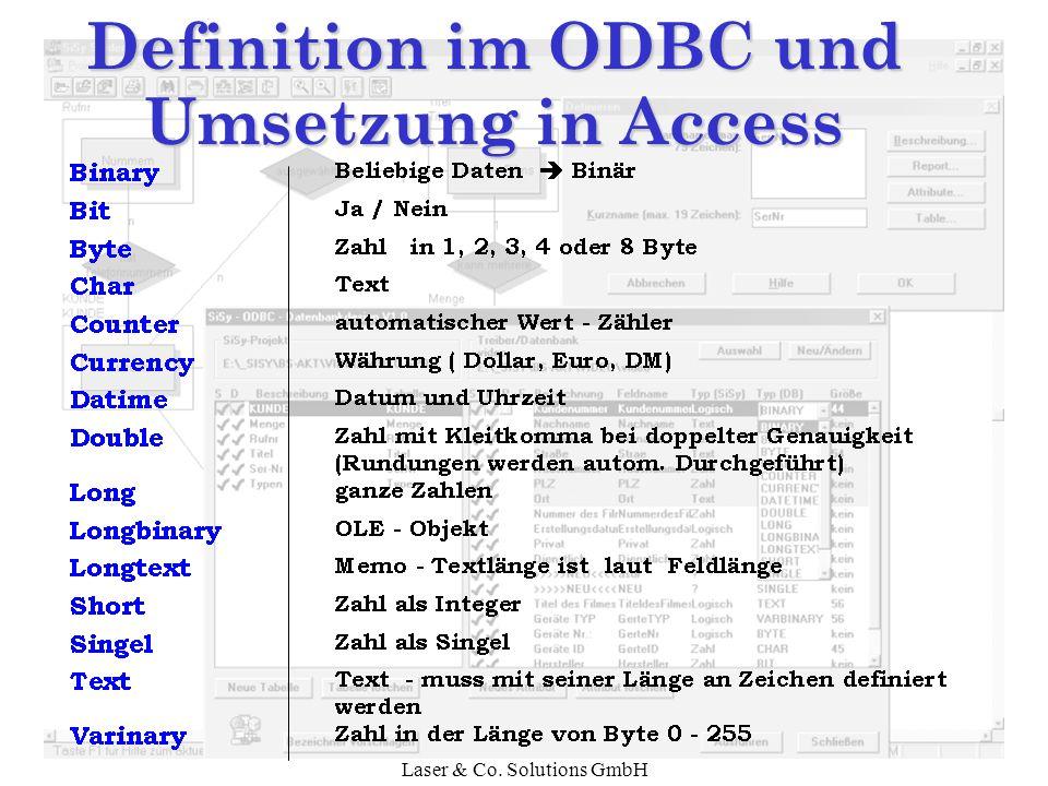 Laser & Co. Solutions GmbH Definition im ODBC und Umsetzung in Access