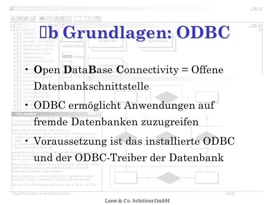 Laser & Co. Solutions GmbH bGrundlagen: ODBC Ê b Grundlagen: ODBC ODBC O pen D ata B ase C onnectivity = Offene Datenbankschnittstelle ODBC ermöglicht