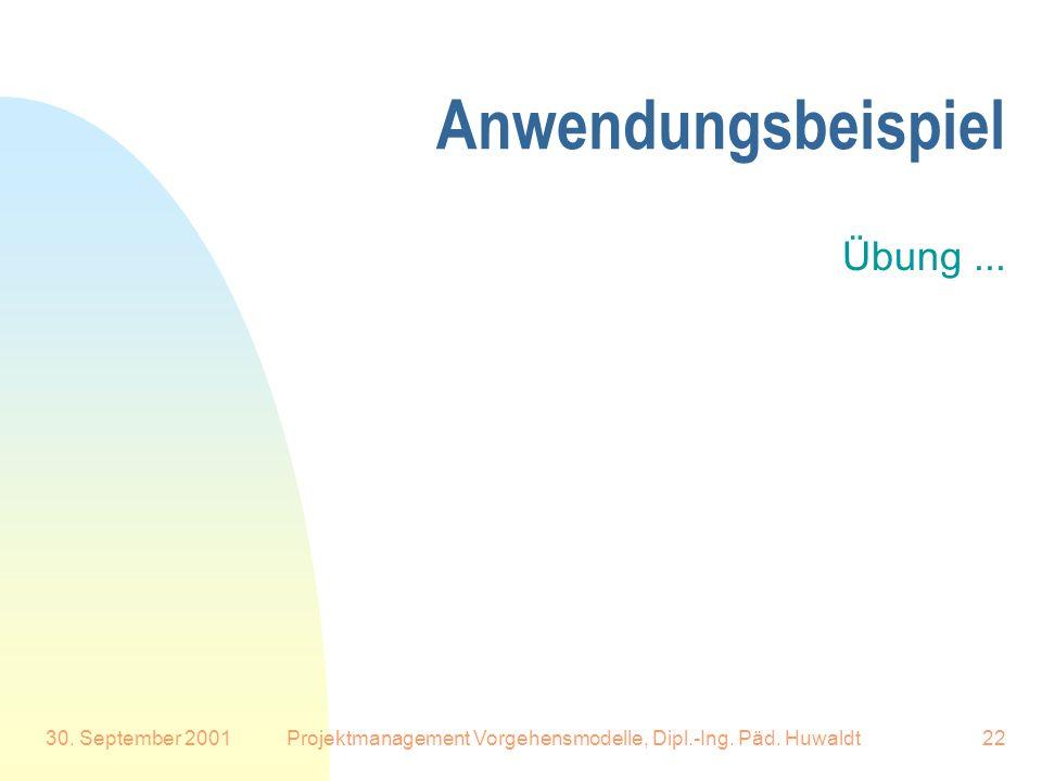 30. September 2001Projektmanagement Vorgehensmodelle, Dipl.-Ing. Päd. Huwaldt22 Anwendungsbeispiel Übung...