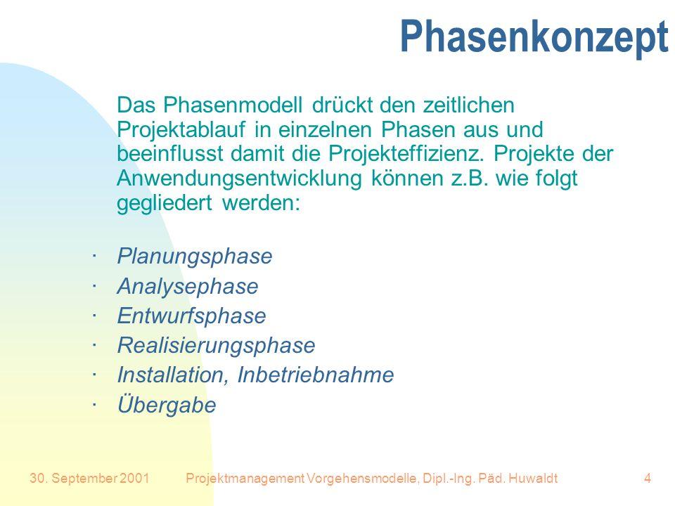 30. September 2001Projektmanagement Vorgehensmodelle, Dipl.-Ing. Päd. Huwaldt4 Phasenkonzept Das Phasenmodell drückt den zeitlichen Projektablauf in e