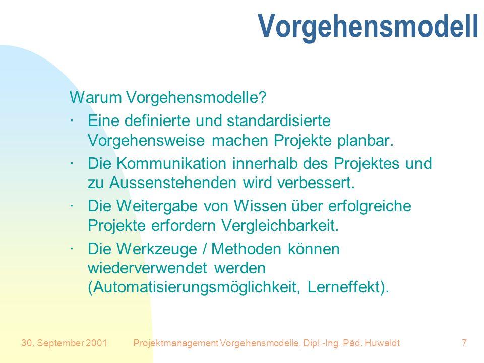 30. September 2001Projektmanagement Vorgehensmodelle, Dipl.-Ing. Päd. Huwaldt7 Vorgehensmodell Warum Vorgehensmodelle? ·Eine definierte und standardis