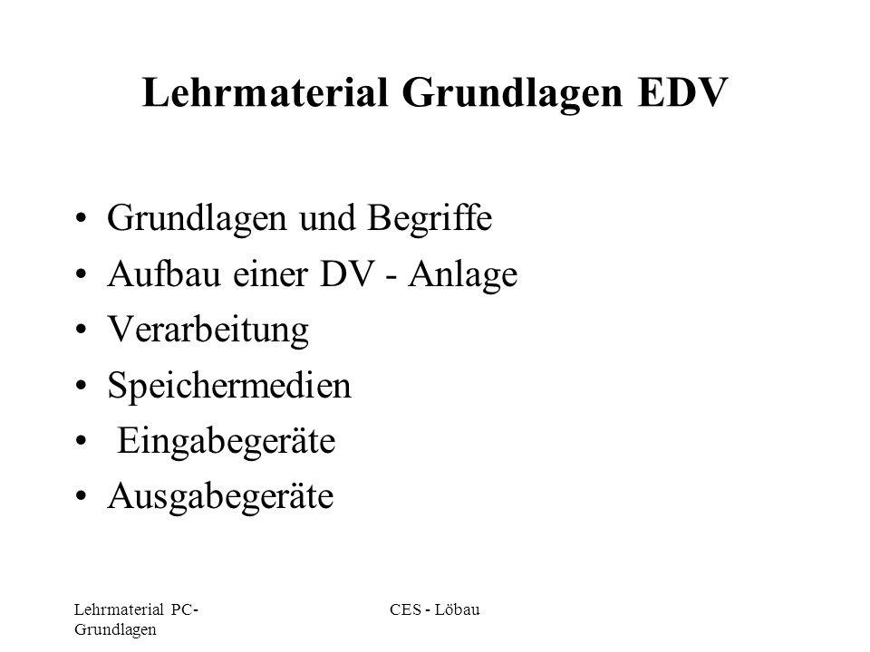 Lehrmaterial PC- Grundlagen CES - Löbau Lehrmaterial Grundlagen EDV Grundlagen und Begriffe Aufbau einer DV - Anlage Verarbeitung Speichermedien Einga