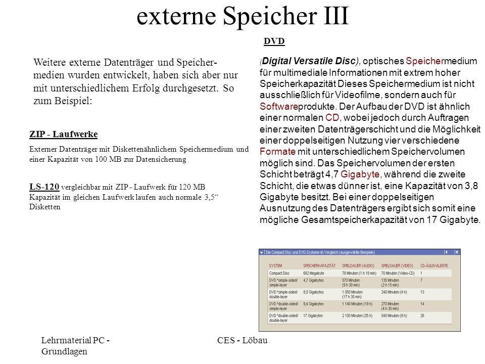 Lehrmaterial PC - Grundlagen CES - Löbau externe Speicher III LS-120 vergleichbar mit ZIP - Laufwerk für 120 MB Kapazität im gleichen Laufwerk laufen