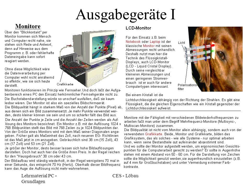 Lehrmaterial PC - Grundlagen CES - Löbau Ausgabegeräte I Monitore