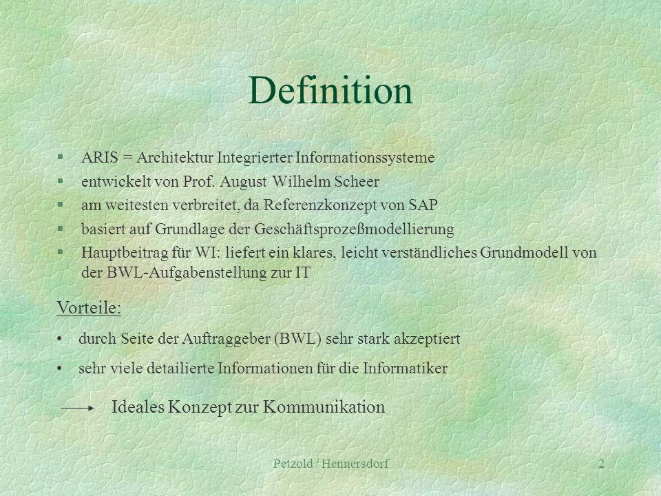 Petzold / Hennersdorf2 Definition §ARIS = Architektur Integrierter Informationssysteme §entwickelt von Prof. August Wilhelm Scheer §am weitesten verbr