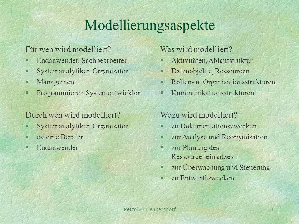 Petzold / Hennersdorf4 Modellierungsaspekte Für wen wird modelliert? §Endanwender, Sachbearbeiter §Systemanalytiker, Organisator §Management §Programm
