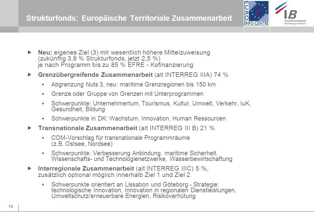 12 Strukturfonds: Europäische Territoriale Zusammenarbeit Neu: eigenes Ziel (3) mit wesentlich höhere Mittelzuweisung (zukünftig 3,9 % Strukturfonds,