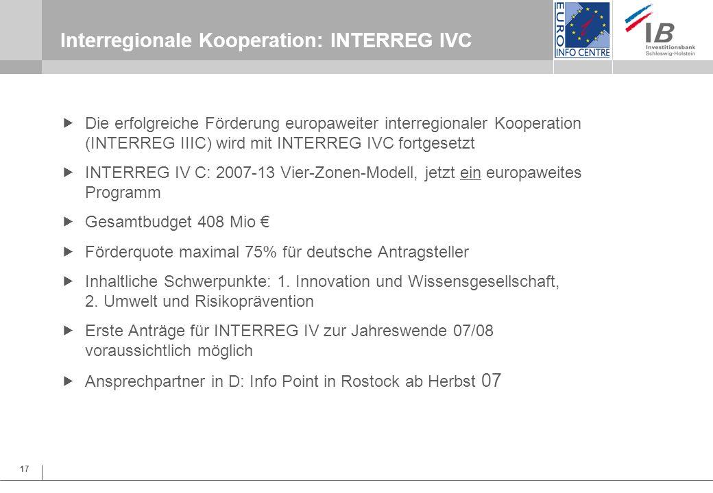 17 Interregionale Kooperation: INTERREG IVC Die erfolgreiche Förderung europaweiter interregionaler Kooperation (INTERREG IIIC) wird mit INTERREG IVC