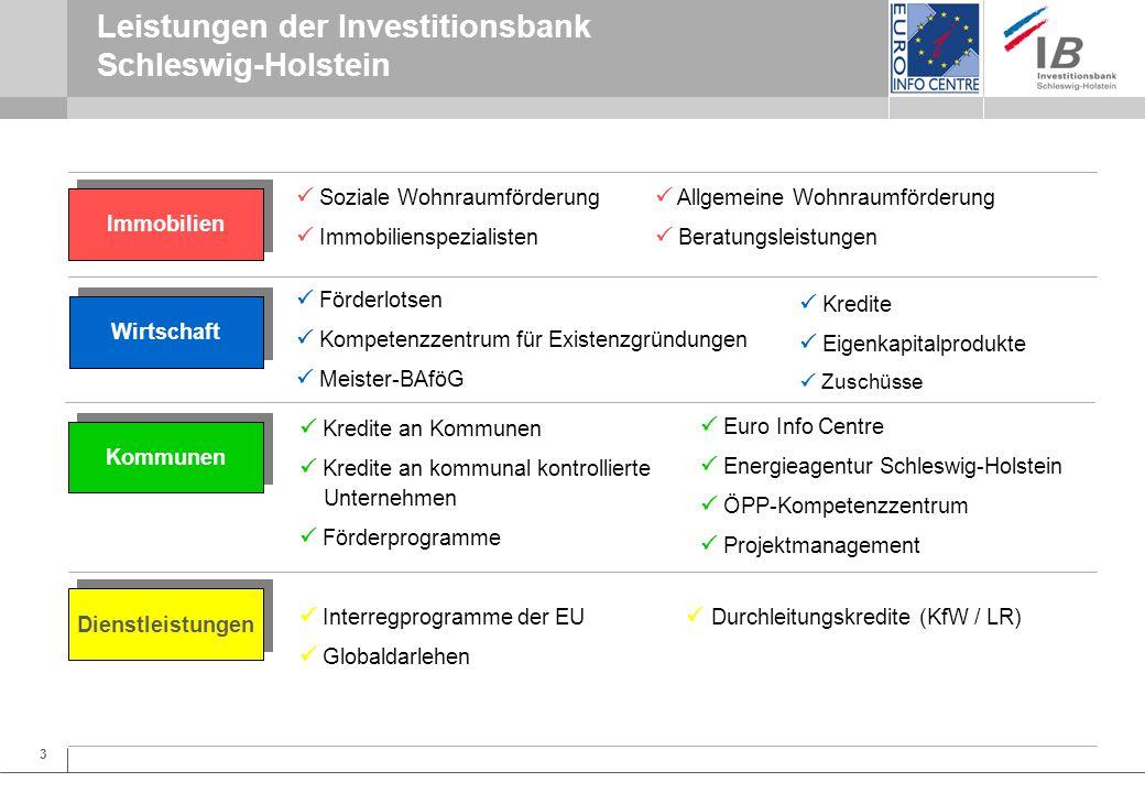 4 EU-Aktivitäten der Investitionsbank Schleswig-Holstein Investitionsbank Schleswig-Holstein zentrale Anlaufstelle für EU-Fragen in SH für Kommunen, Unternehmen und andere Interessierte (z.B.