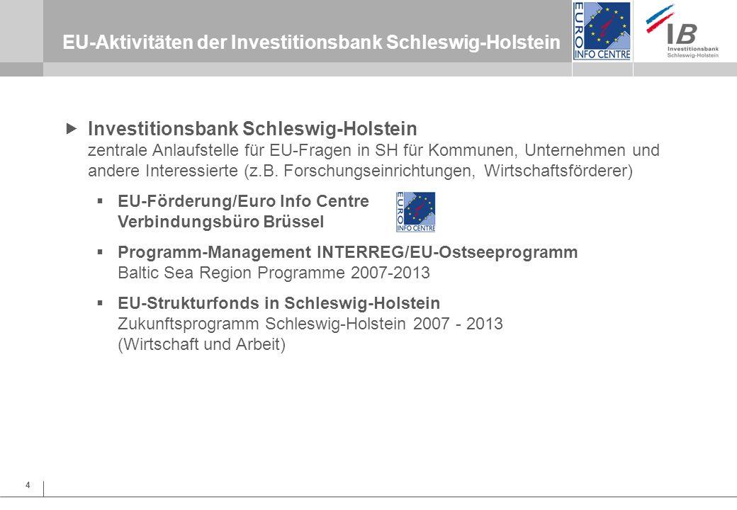 5 EU-Aktivitäten der Investitionsbank Schleswig-Holstein EU-Förderung/ Euro Info Centre Euro Info Centre EU-Förder- und Antragsberatung in EU-Programmen Unterstützung bei Antragstellung und Projektumsetzung Information zu EU-Vorschriften u.a.