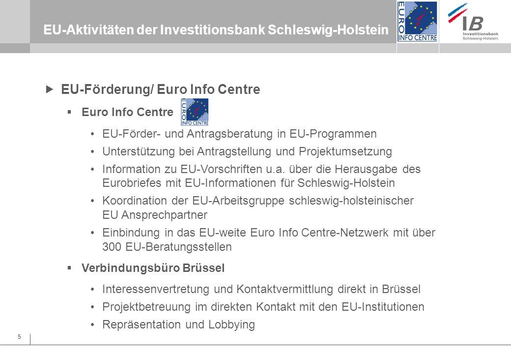 5 EU-Aktivitäten der Investitionsbank Schleswig-Holstein EU-Förderung/ Euro Info Centre Euro Info Centre EU-Förder- und Antragsberatung in EU-Programm