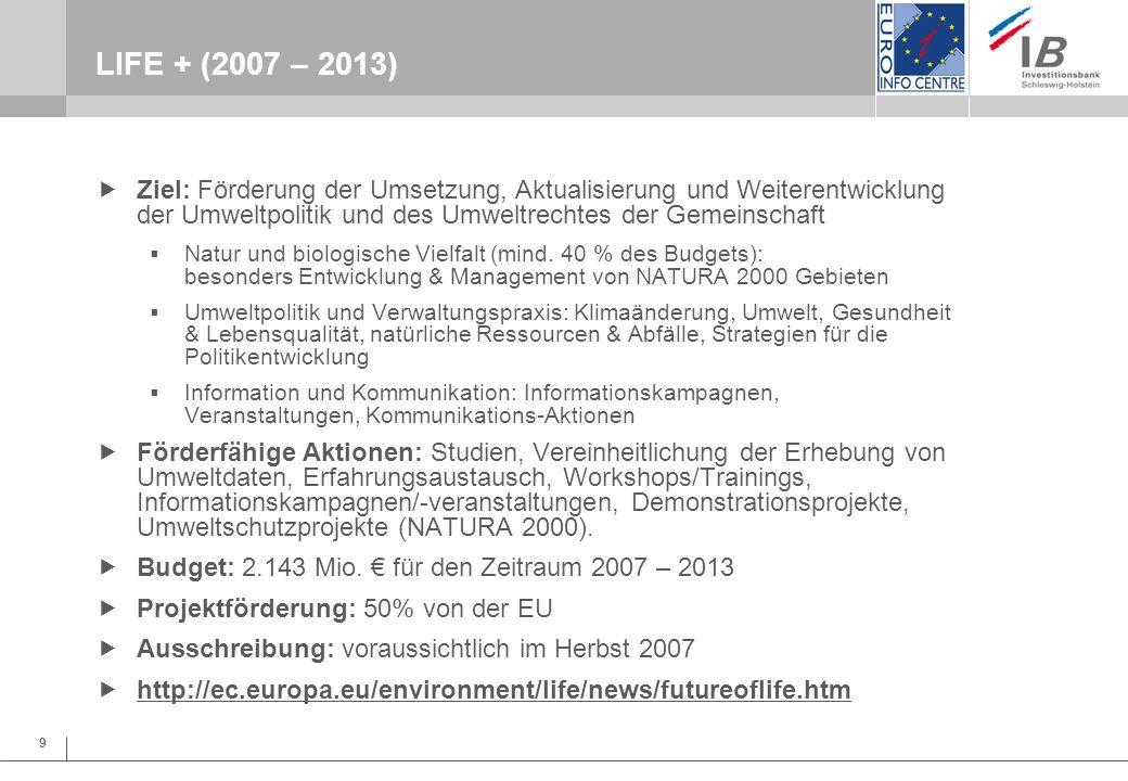 9 LIFE + (2007 – 2013) Ziel: Förderung der Umsetzung, Aktualisierung und Weiterentwicklung der Umweltpolitik und des Umweltrechtes der Gemeinschaft Na