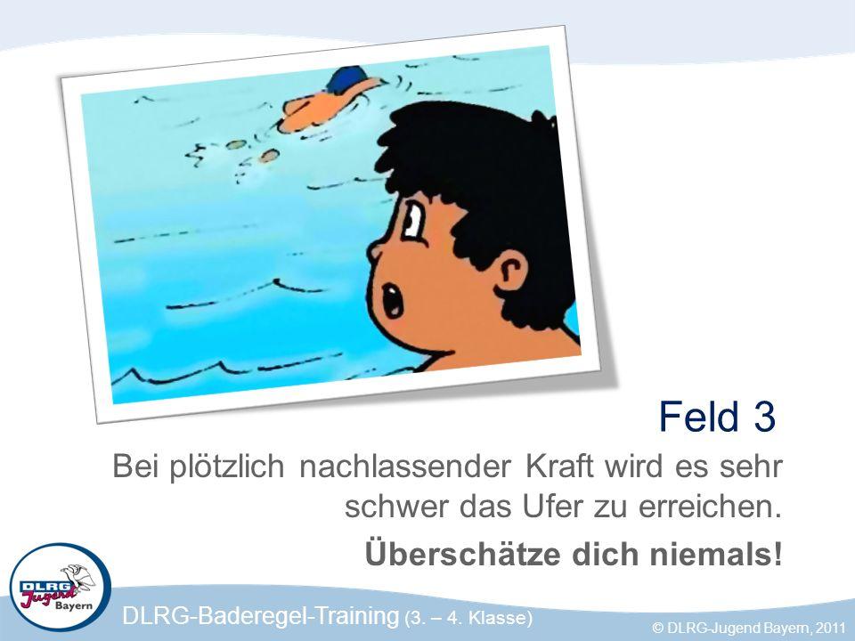 DLRG-Baderegel-Training (3. – 4. Klasse) © DLRG-Jugend Bayern, 2011 Feld 3 Bei plötzlich nachlassender Kraft wird es sehr schwer das Ufer zu erreichen