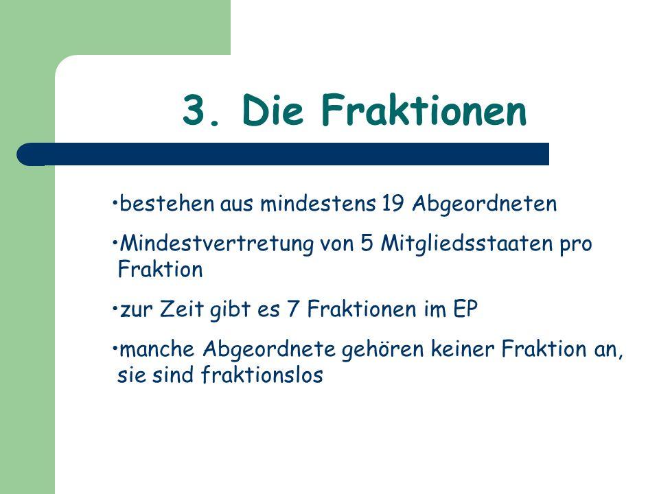 3. Die Fraktionen bestehen aus mindestens 19 Abgeordneten Mindestvertretung von 5 Mitgliedsstaaten pro Fraktion zur Zeit gibt es 7 Fraktionen im EP ma