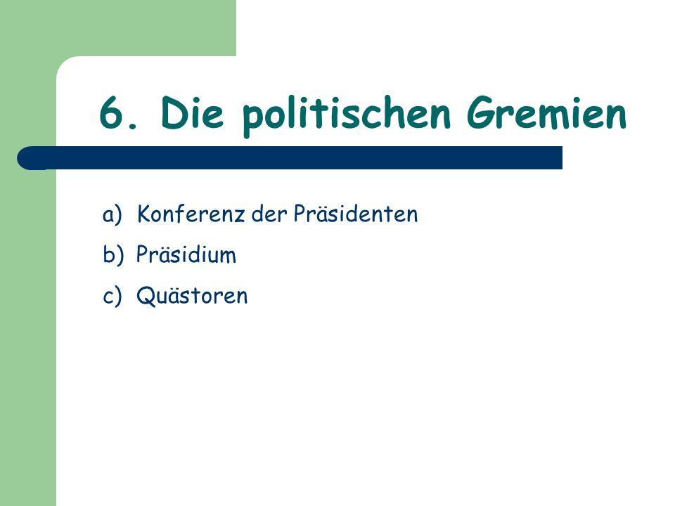 6. Die politischen Gremien a)Konferenz der Präsidenten b)Präsidium c)Quästoren
