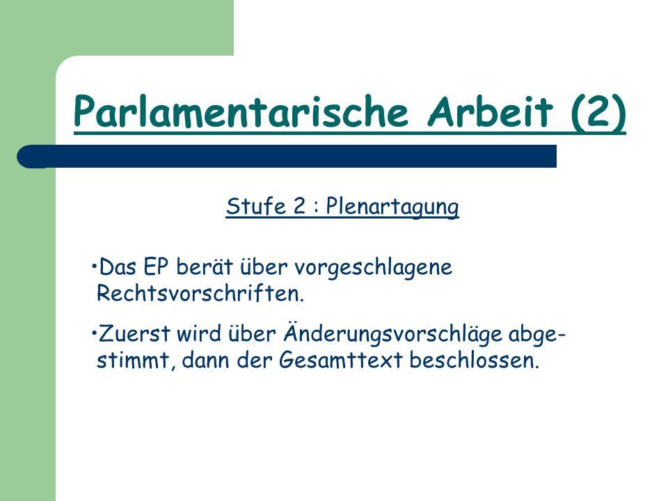 Parlamentarische Arbeit (2) Stufe 2 : Plenartagung Das EP berät über vorgeschlagene Rechtsvorschriften. Zuerst wird über Änderungsvorschläge abge- sti