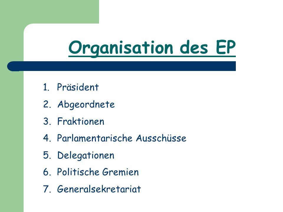 Organisation des EP 1.Präsident 2.Abgeordnete 3.Fraktionen 4.Parlamentarische Ausschüsse 5.Delegationen 6.Politische Gremien 7.Generalsekretariat