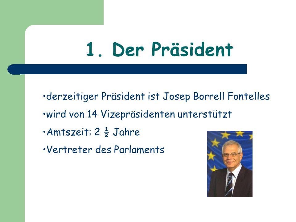 1. Der Präsident derzeitiger Präsident ist Josep Borrell Fontelles wird von 14 Vizepräsidenten unterstützt Amtszeit: 2 ½ Jahre Vertreter des Parlament