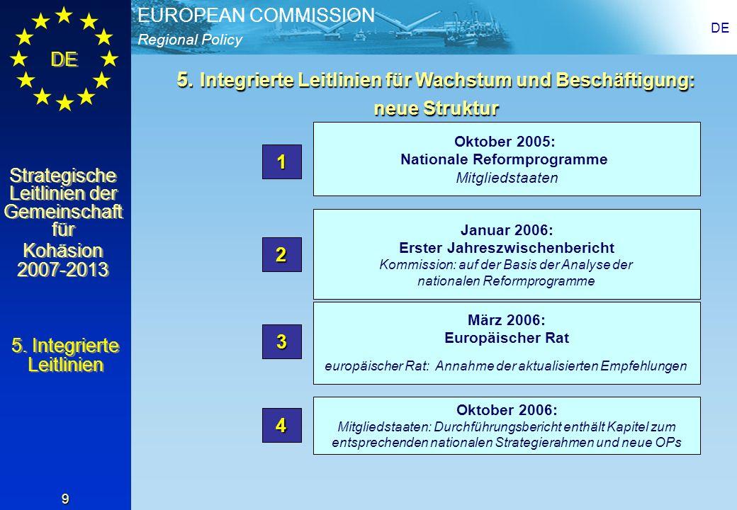 Regional Policy EUROPEAN COMMISSION DE Strategische Leitlinien der Gemeinschaft für Kohäsion 2007-2013 Strategische Leitlinien der Gemeinschaft für Kohäsion 2007-2013 DE 20 VIII) Mehr Arbeit, Arbeitsplatzerhalt; Modernisierung der Sozialversischerungssysteme Beschäftigungspolitik für Vollbeschäftigung, Qualität und Produktivität + Stärkung der sozialen und territorialen Kohäsion Arbeit auf der Basis des Lebenszyklus Arbeitsmarkt für Arbeitslose und Benachteiligte Anpassung Erfordernisse Arbeitsmarkt Mehr und bessere Arbeitsplätze