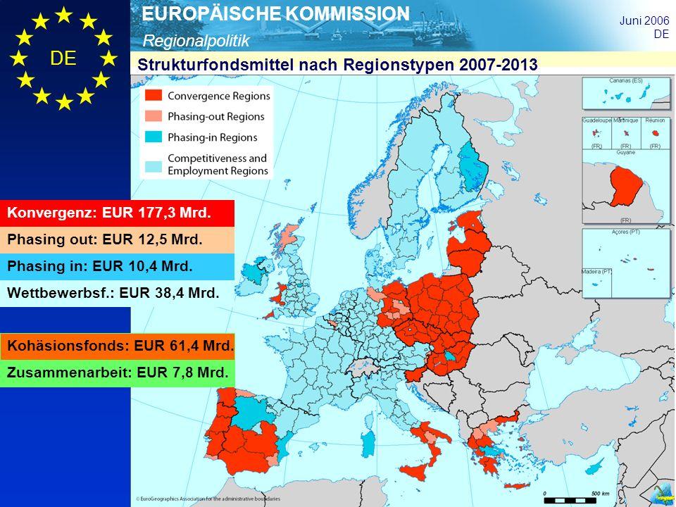 Regionalpolitik EUROPÄISCHE KOMMISSION Juni 2006 DE Konvergenz: EUR 177,3 Mrd. Phasing out: EUR 12,5 Mrd. Phasing in: EUR 10,4 Mrd. Wettbewerbsf.: EUR