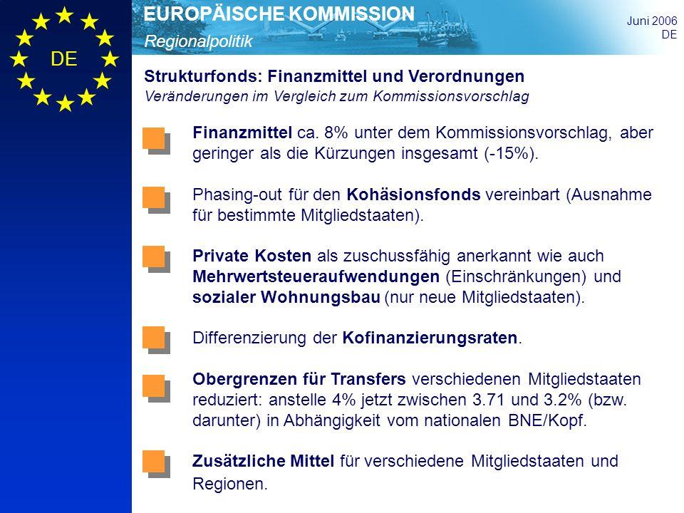 Regionalpolitik EUROPÄISCHE KOMMISSION Juni 2006 DE Strukturfonds: Finanzmittel und Verordnungen Veränderungen im Vergleich zum Kommissionsvorschlag F