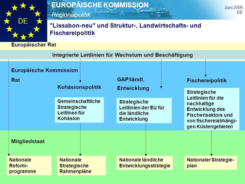 Regionalpolitik EUROPÄISCHE KOMMISSION Juni 2006 DE Integrierte Leitlinien für Wachstum und Beschäftigung Gemeinschaftliche Strategische Leitlinen für
