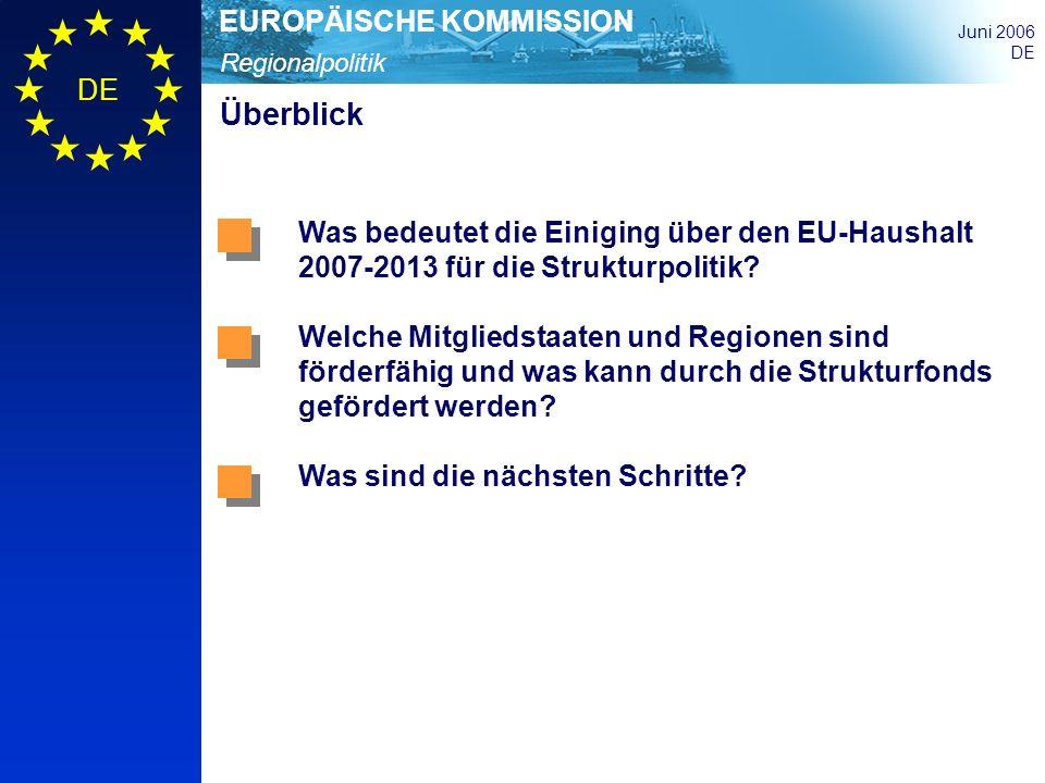 Regionalpolitik EUROPÄISCHE KOMMISSION Juni 2006 DE <50 50 - 75 75 - 90 90 - 100 100 - 125 125 Index, EUR-27 = 100 Regionale Entwicklungsunterschiede in der EU27 BIP pro Kopf n % in KKS (2002) Source: Eurostat