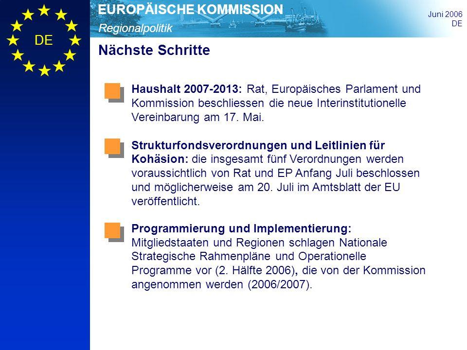 Regionalpolitik EUROPÄISCHE KOMMISSION Juni 2006 DE Nächste Schritte Haushalt 2007-2013: Rat, Europäisches Parlament und Kommission beschliessen die n
