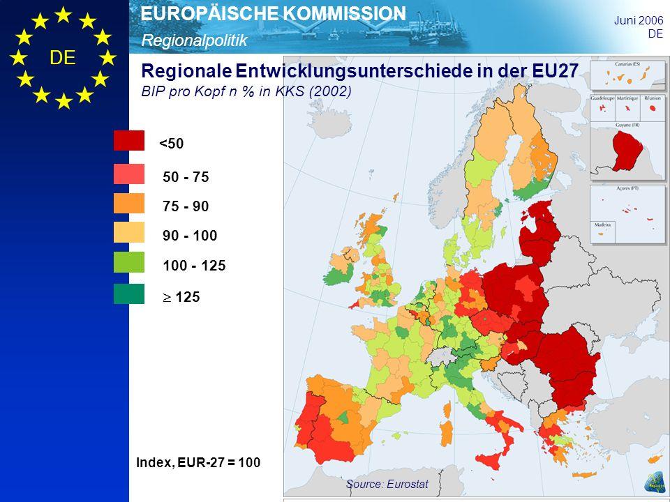 Regionalpolitik EUROPÄISCHE KOMMISSION Juni 2006 DE Kohäsionspolitik zwischen 2000 und 2006 Ziel Stärkung des wirtschaftlichen und sozialen Zusammenhalts und Verringerung regionaler Entwicklungsunterschiede Instrumente drei Ziele und vier Gemeinschaftsinitiativen; 49,5% der Bevölkerung lebt in Förderge- bieten nach Ziel 1 oder Ziel 2 Finanzmittel ca.